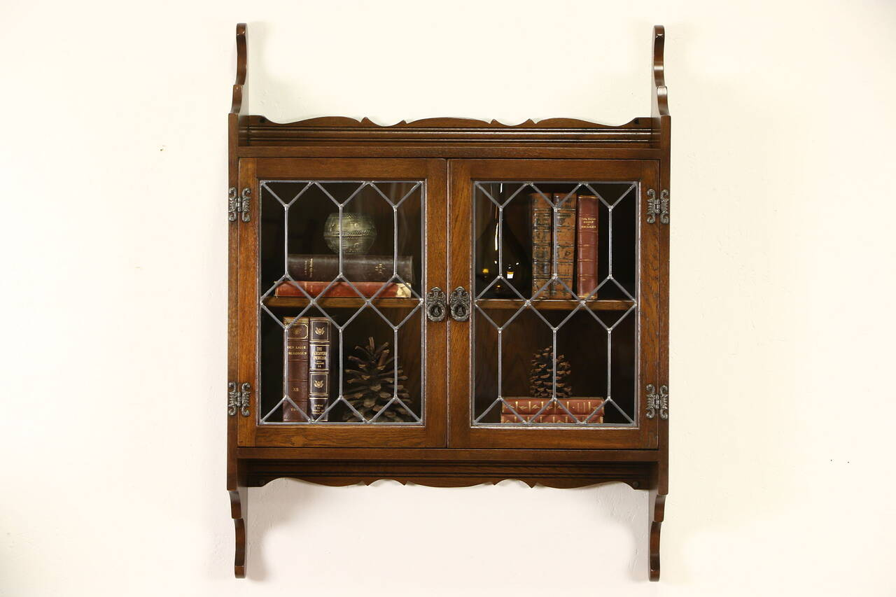 Hanging Wall Cabinet english vintage oak hanging wall cabinet, leaded glass doors, nice