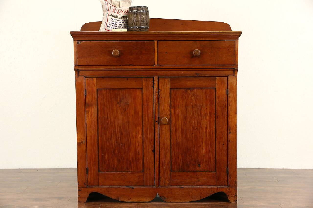 Country pine 1850 39 s antique missouri pantry jelly cupboard sideboard or server ebay - Country kitchen larder cupboard ...