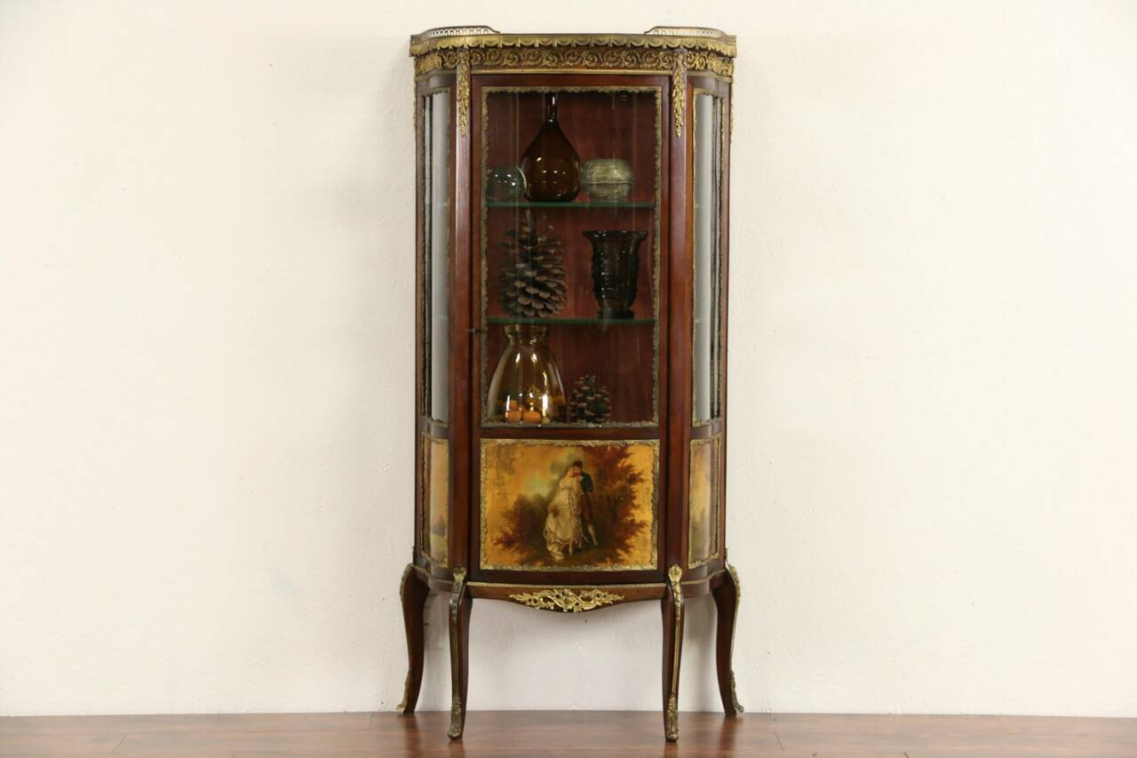 French 1910 Antique Vitrine Curved Glass Curio Cabinet