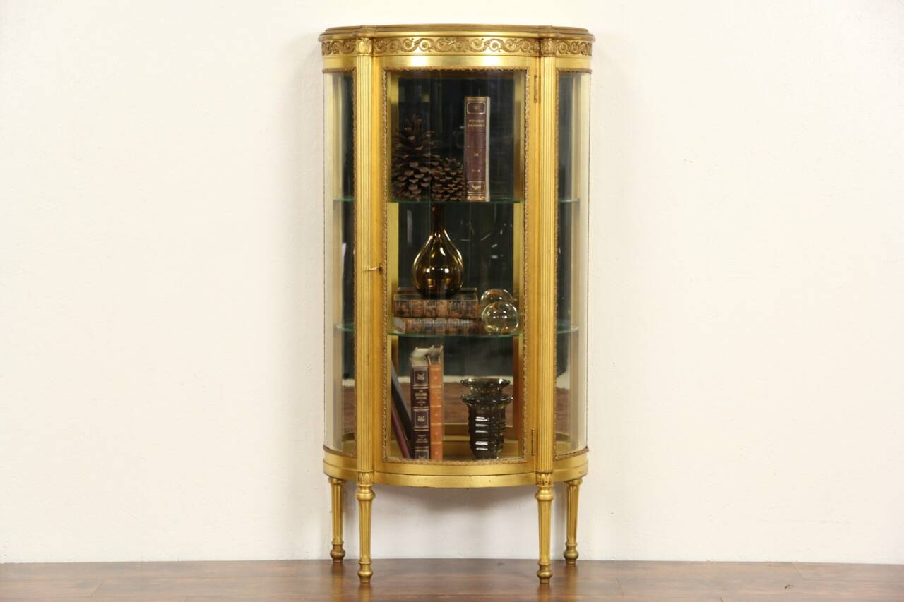 French 1910 Antique Gold Leaf Curved Glass Vitrine Curio
