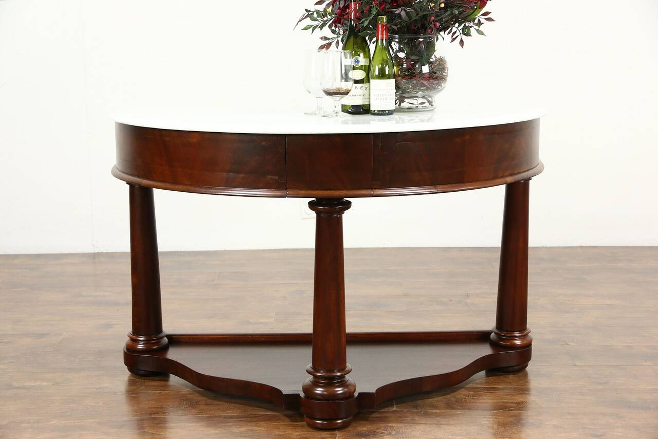 Harp Gallery Antique Furniture Empire Marble Top 1835 Demilune Half Round Hall Console Or Server Thumbnail