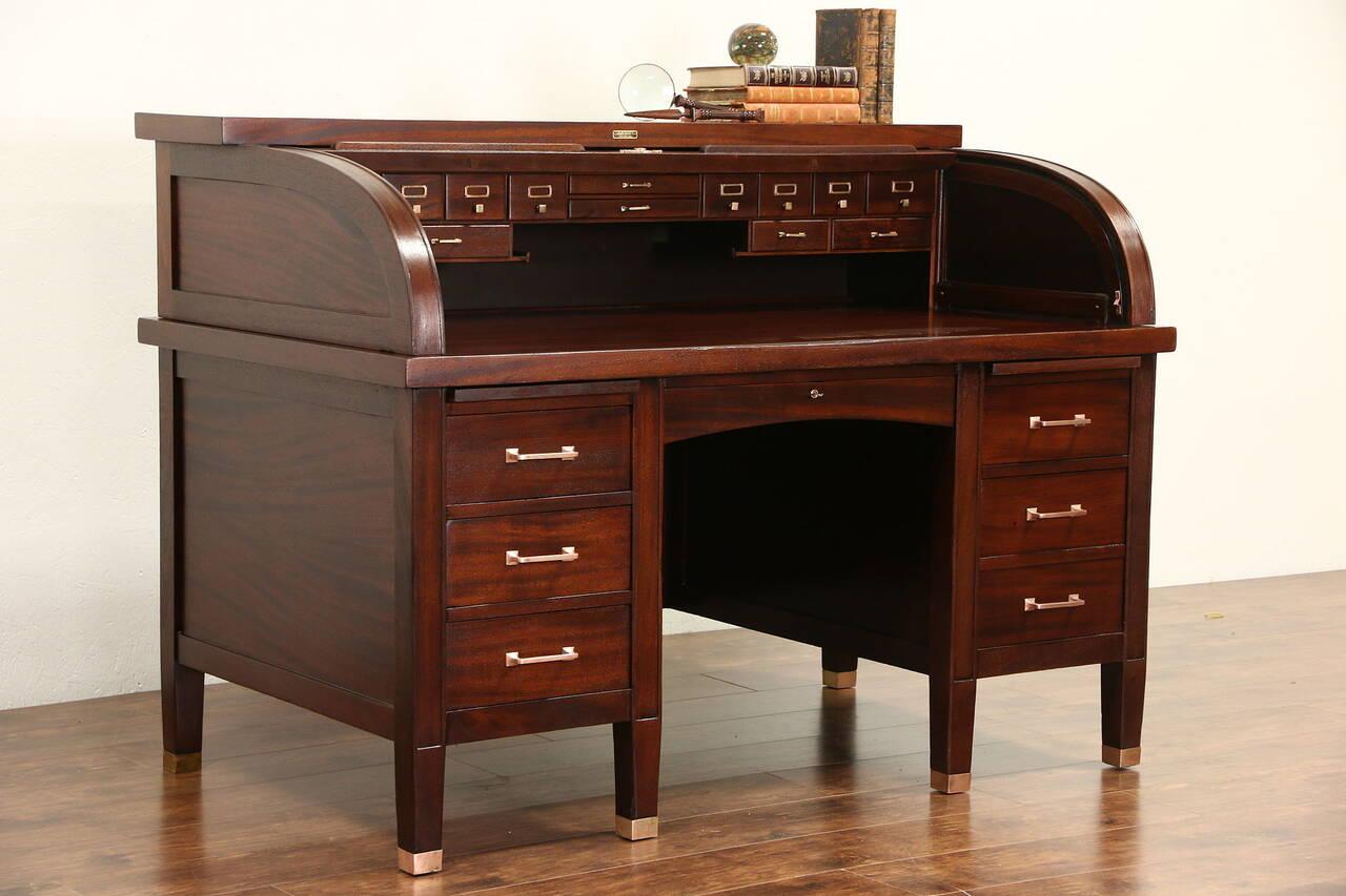Mahogany C Curve 1910 Antique Roll Top Desk Bronze