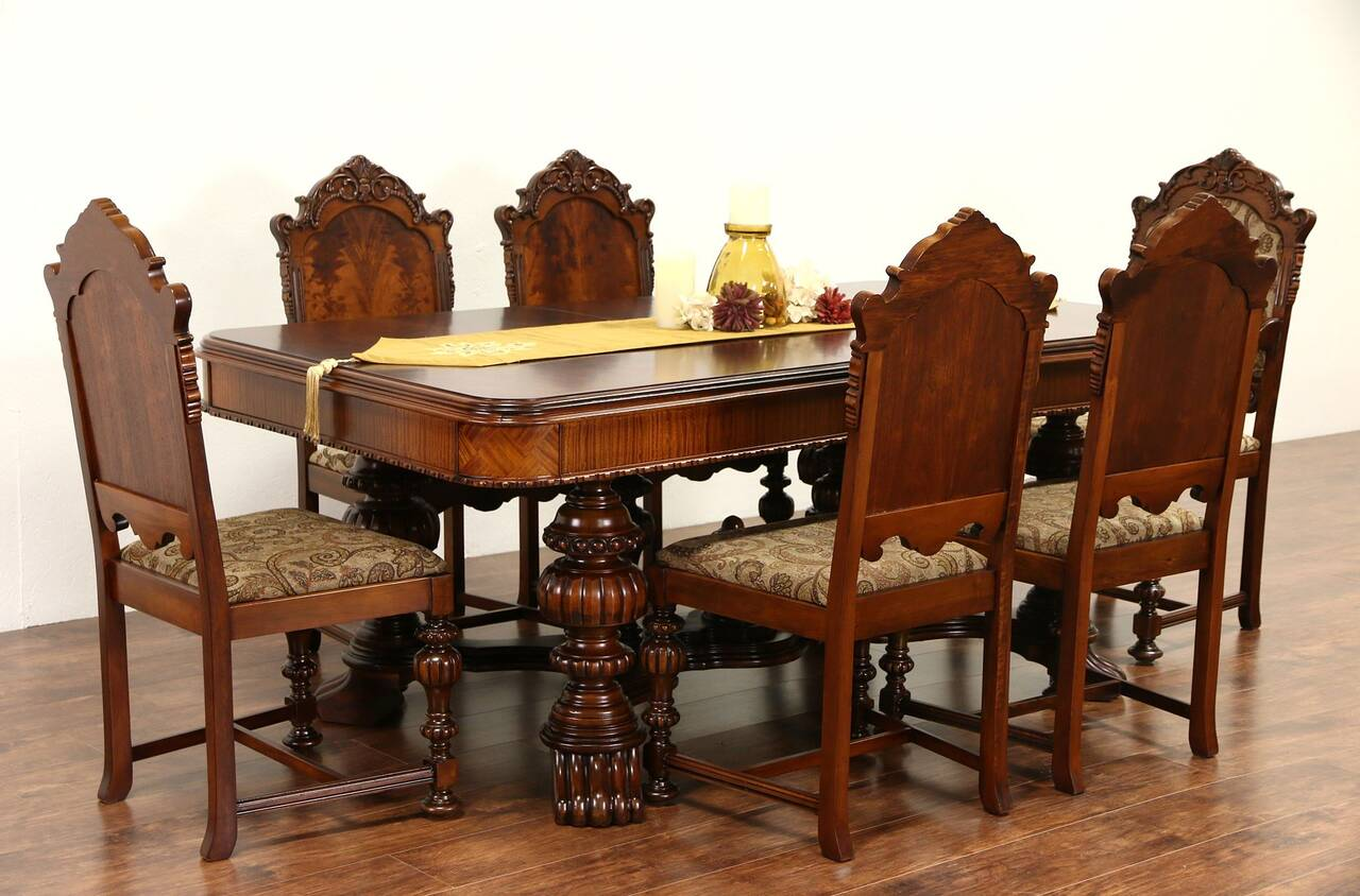 renaissance carved 1920 39 s antique dining set table leaf 6 chairs new fabric. Black Bedroom Furniture Sets. Home Design Ideas