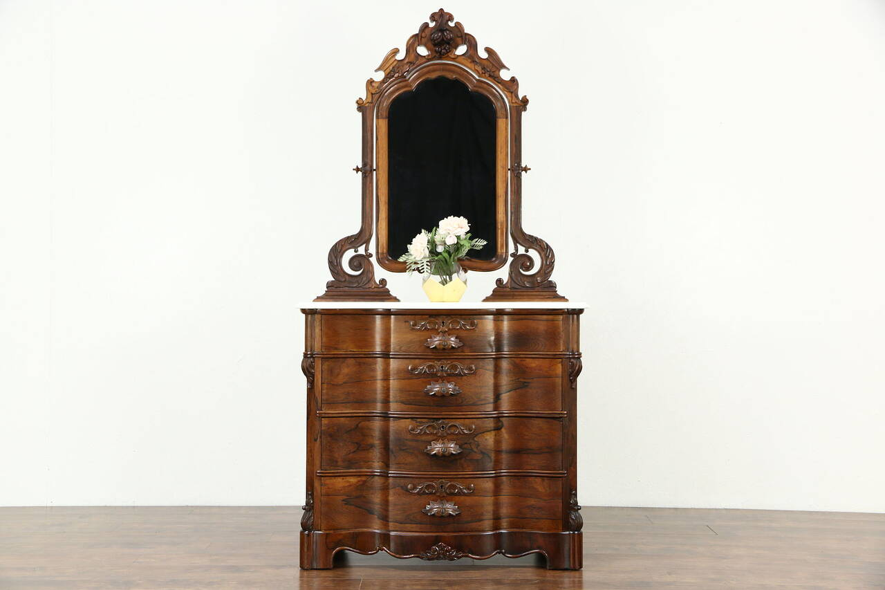 Victorian 1870's Antique Rosewood Chest or Dresser, Marble ...