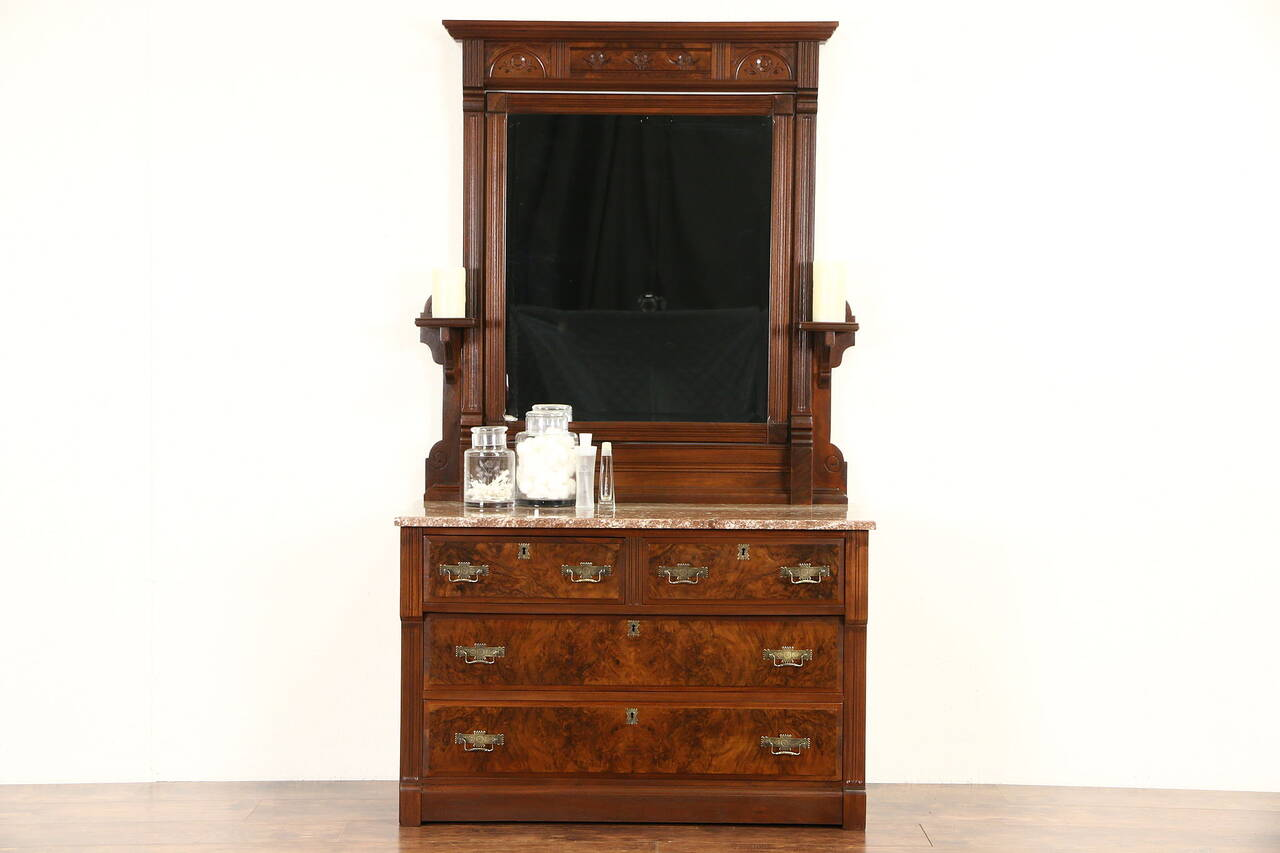 victorian eastlake 1880 39 s antique walnut chest or dresser marble mirror ebay. Black Bedroom Furniture Sets. Home Design Ideas