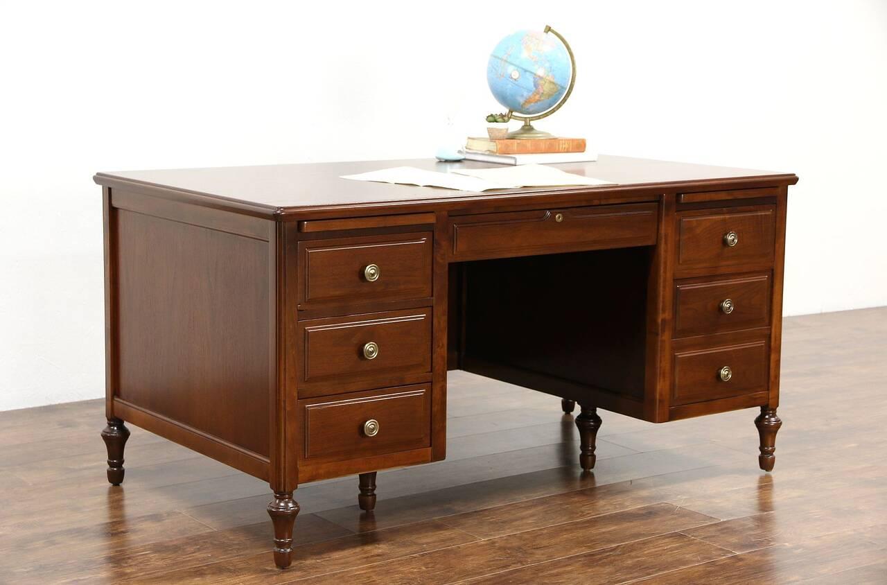 Executive Or Library Walnut Desk 1930 39 S Vintage Signed Jasper Ebay