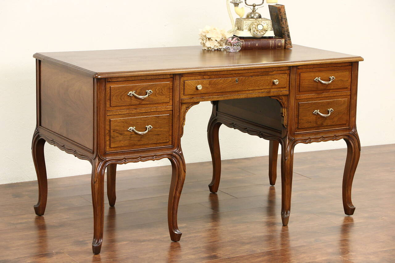 French s carved walnut vintage library writing desk
