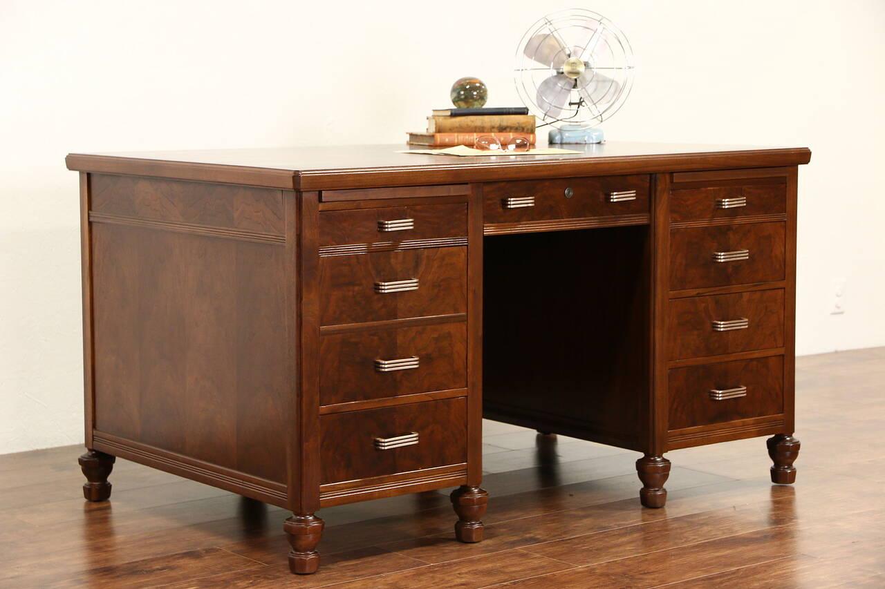 Walnut 1930 S Vintage Executive Walnut Desk Original