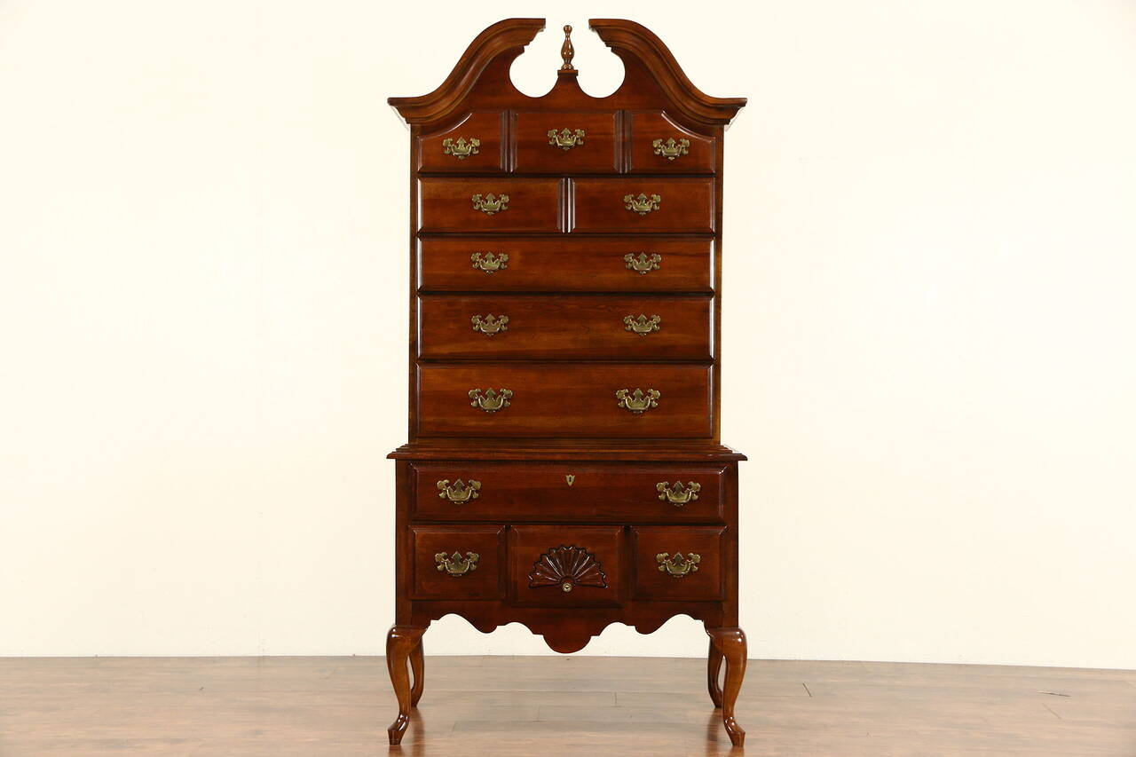 Cherry Vintage Traditional Tall Chest On Chest Or Highboy