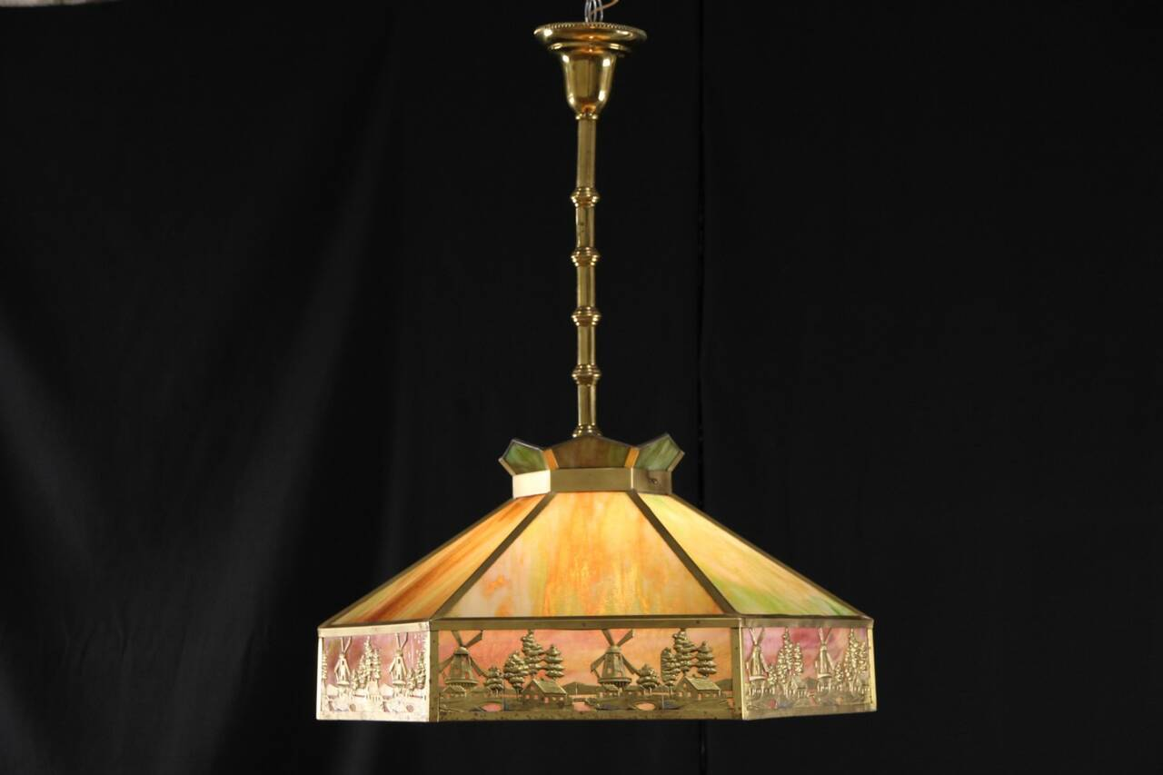 stained glass 1915 antique ceiling light fixture windmill design. Black Bedroom Furniture Sets. Home Design Ideas