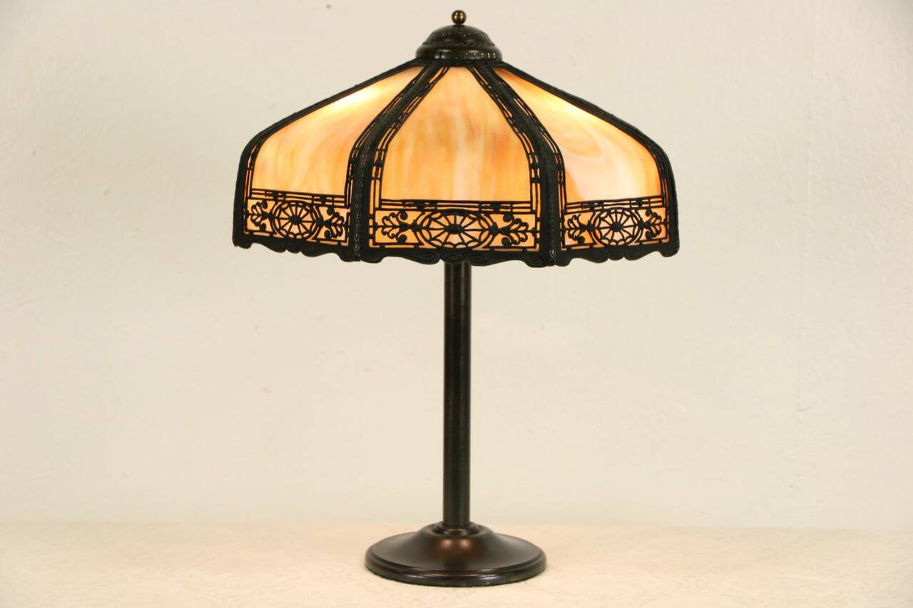 stained glass curved panel shade antique 1915 lamp ebay. Black Bedroom Furniture Sets. Home Design Ideas