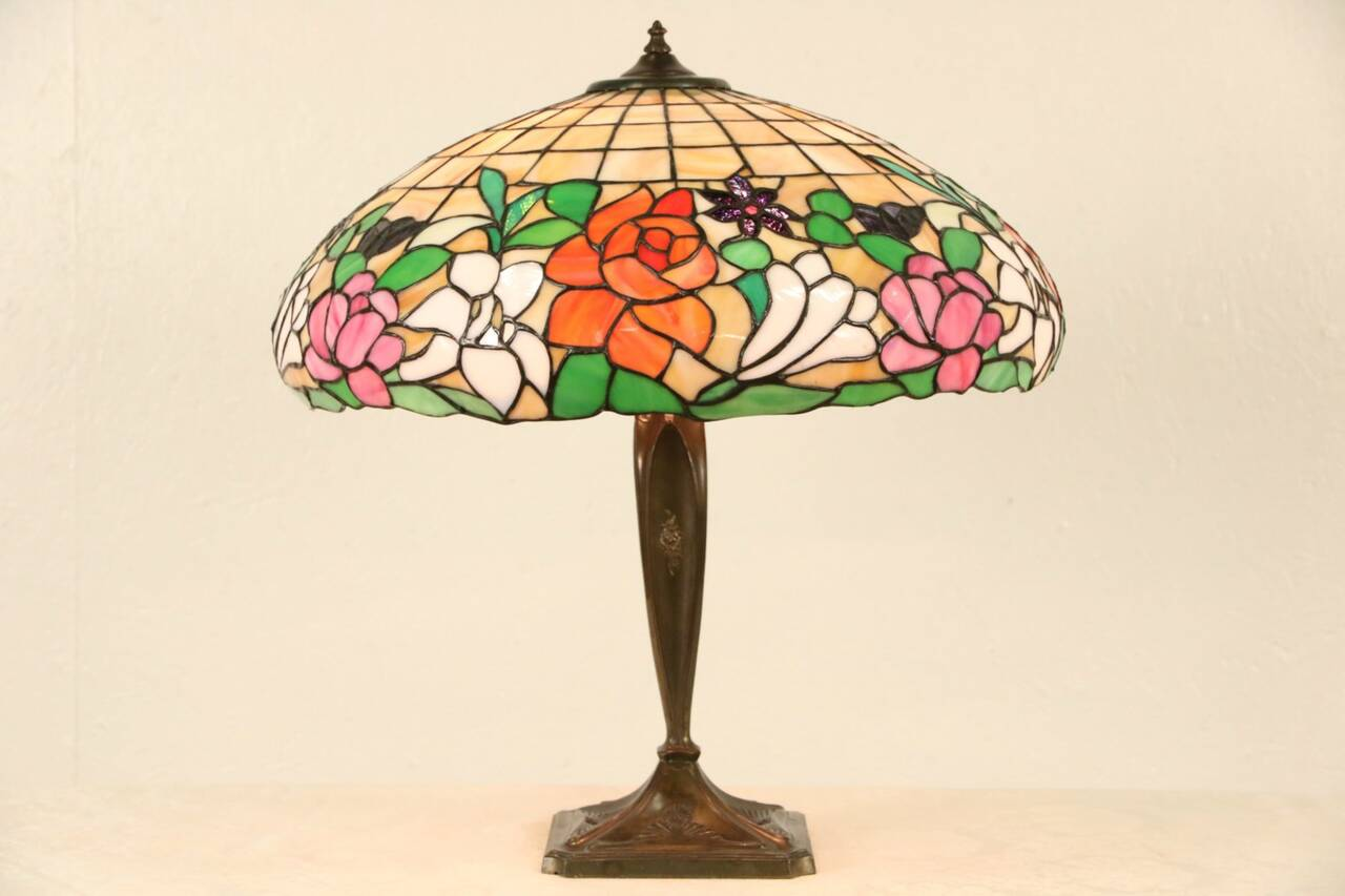 leaded stained glass shade 1915 antique table lamp ebay. Black Bedroom Furniture Sets. Home Design Ideas