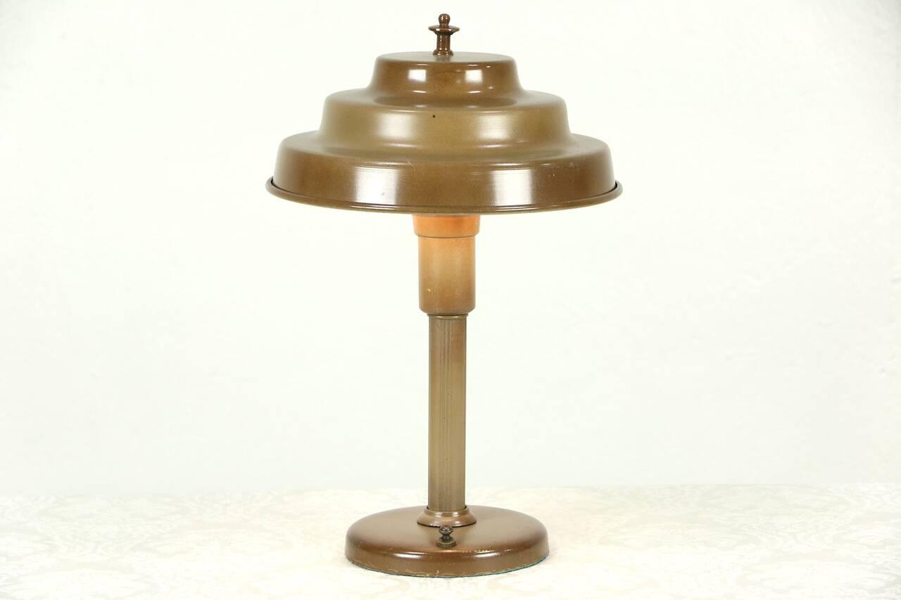 details about midcentury modern desk lamp metal shade 1950 vintage. Black Bedroom Furniture Sets. Home Design Ideas