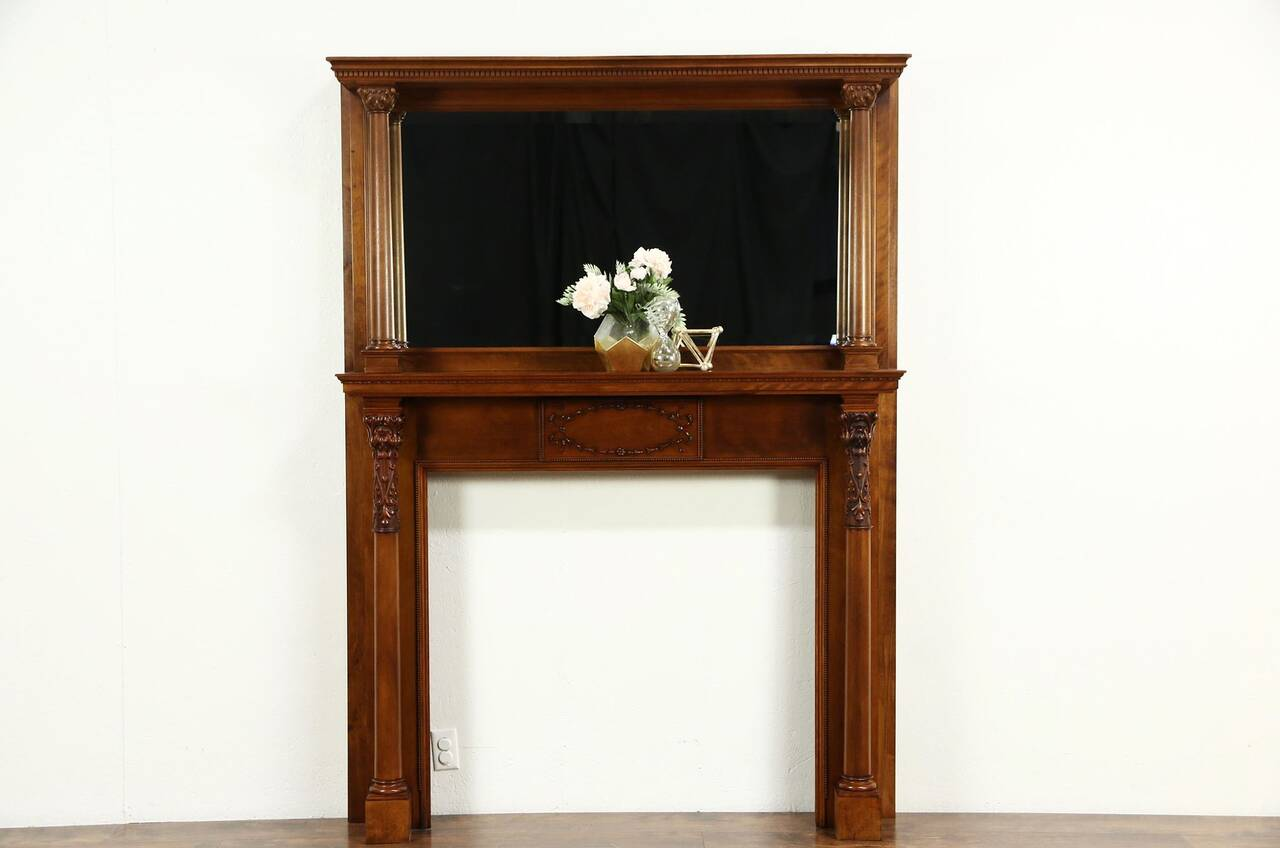 Fireplace Mantel & Mirror 1895 Antique Architectural