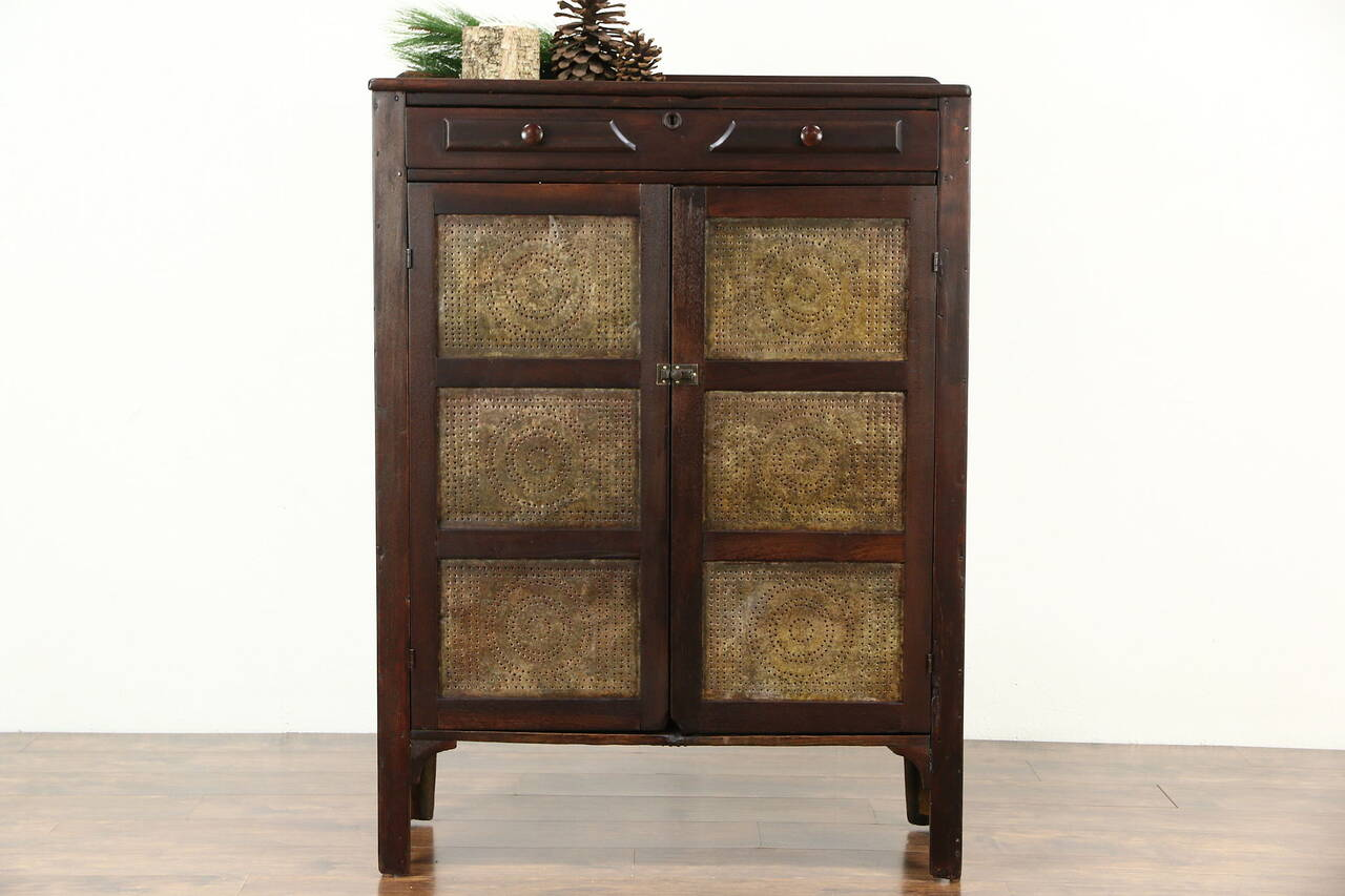 Pie Safe Pantry Cupboard 1890 Country Antique Punched
