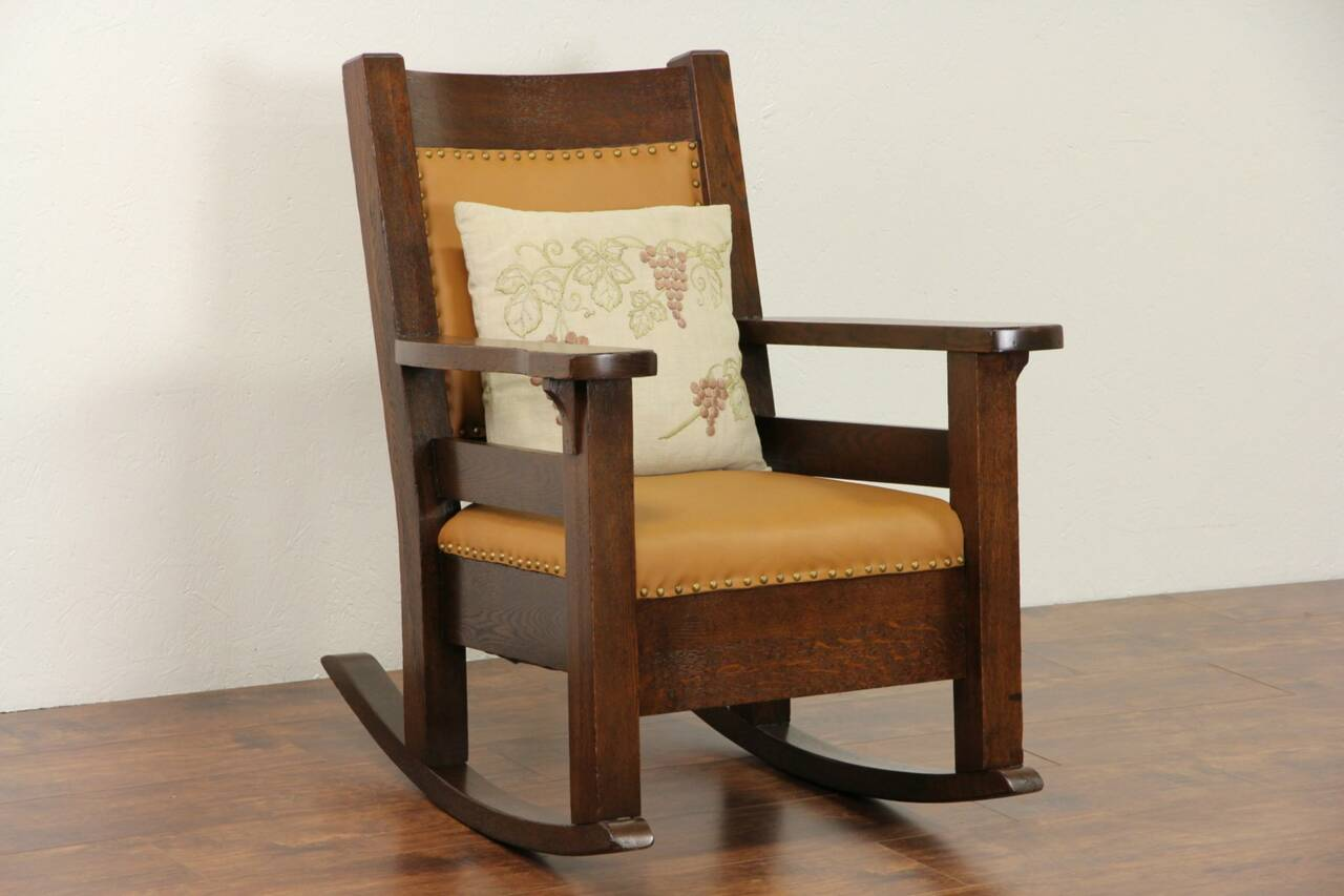 ... Crafts Mission Oak 1905 Antique Rocker, Craftsman Rocking Chair  eBay
