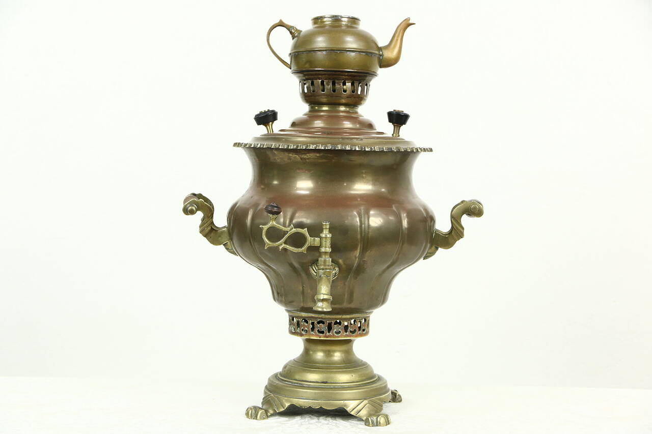russian antique copper brass signed samovar tea kettle with tea pot. Black Bedroom Furniture Sets. Home Design Ideas