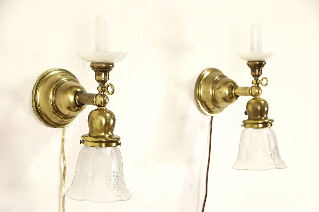 Antique Gas Wall Sconces : Pair of Antique Brass 1890 s Gas Wall Sconce Lights, Electrified eBay