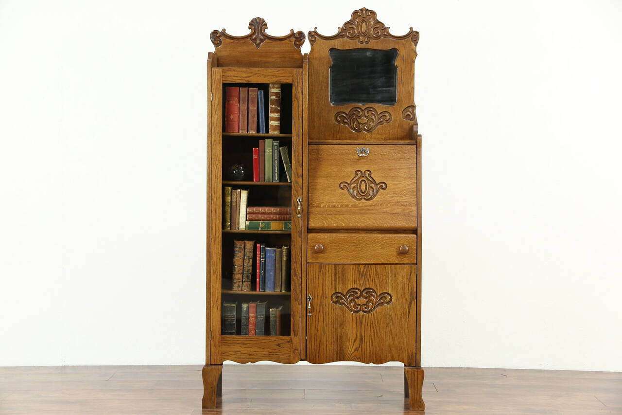 Oak Side by Side 1900 Antique Combination Bookcase & Secretary Desk - Oak Secretary EBay