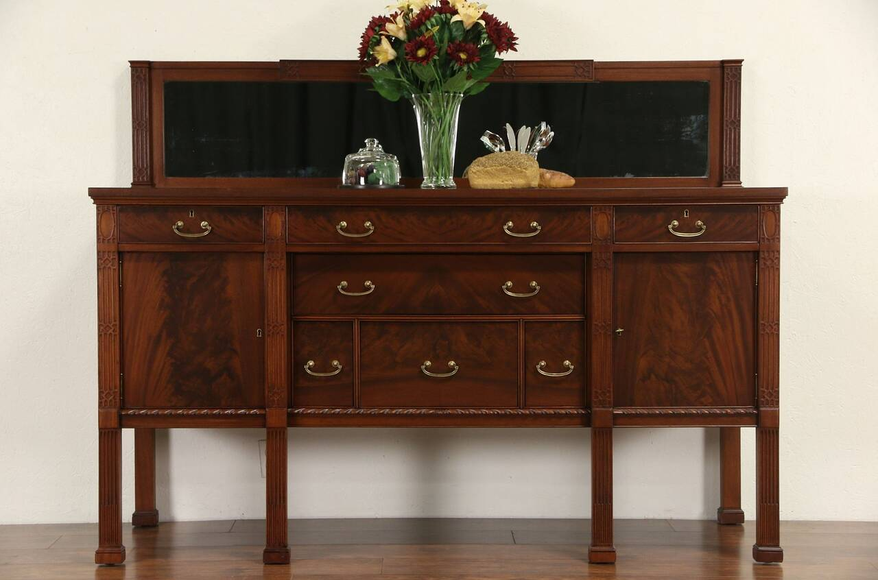 georgian mahogany 1915 antique sideboard server or buffet mirror. Black Bedroom Furniture Sets. Home Design Ideas