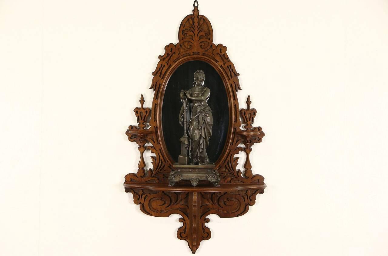 Victorian 1870 Antique Carved Walnut Mirror Amp Shelf