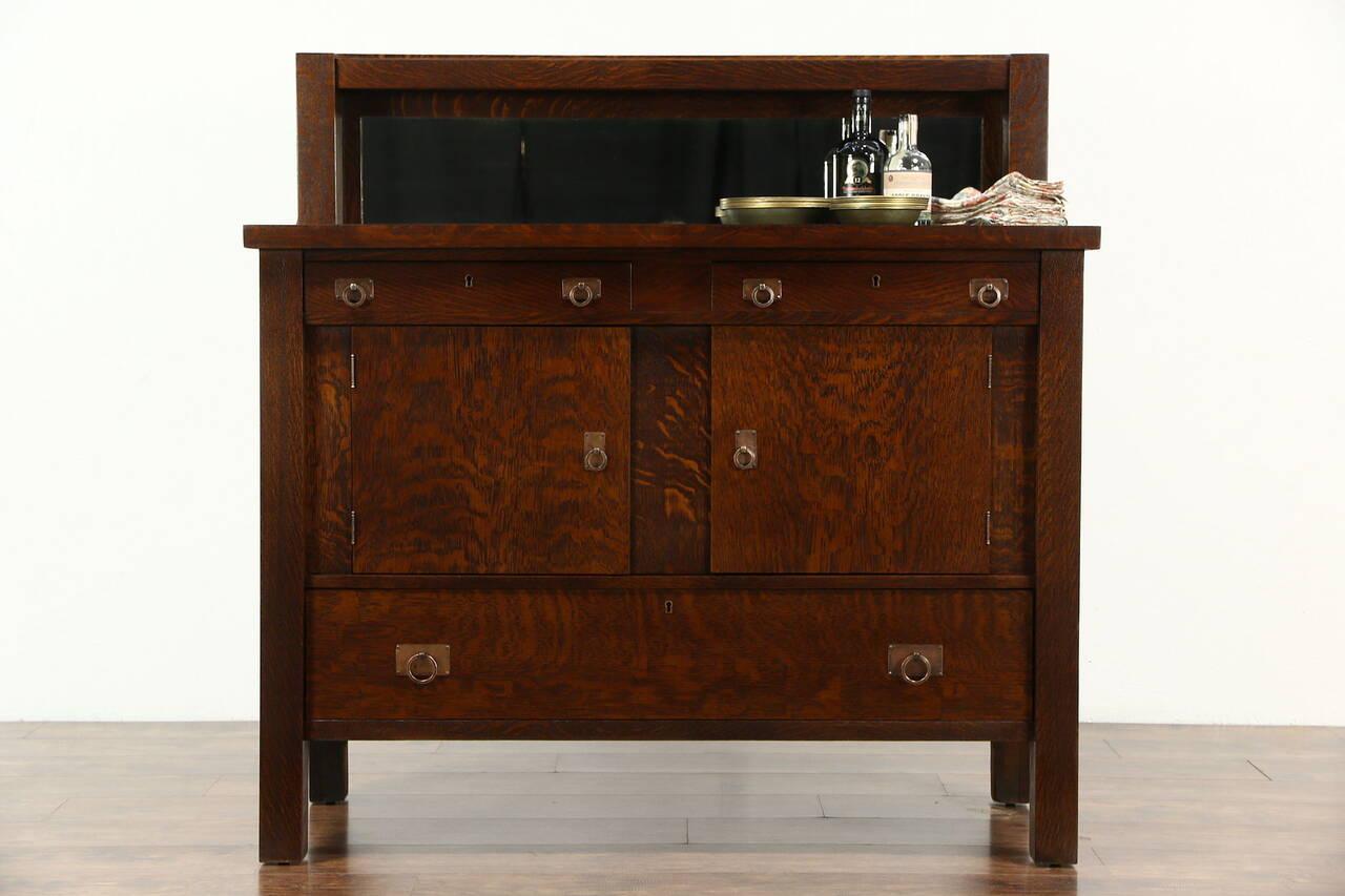 Arts crafts mission oak 1905 antique sideboard server for Sideboard ebay