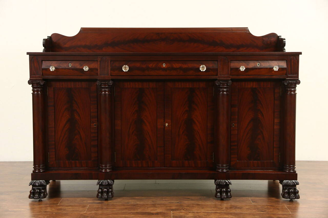 empire carved mahogany 1900 antique sideboard server or buffet lion paw feet ebay. Black Bedroom Furniture Sets. Home Design Ideas
