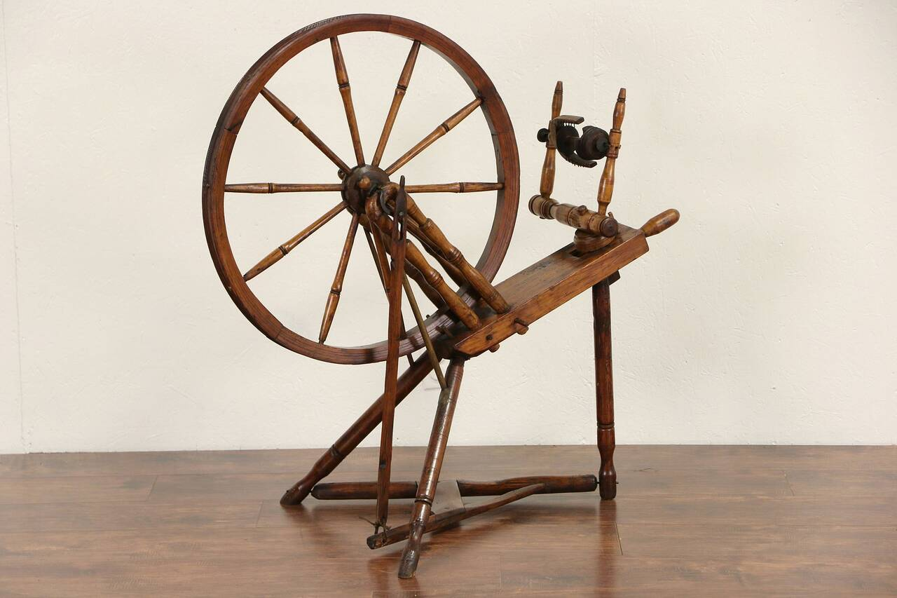 Spinning Wheel Hand Made Mid 1800 S Antique Signed Pis