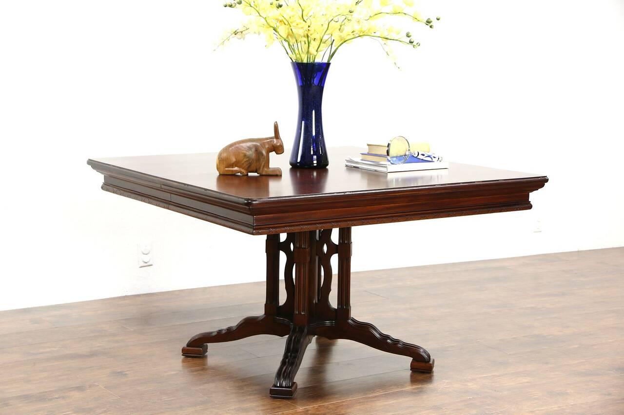 Pedestal Foyer Table : Square quot antique breakfast dining or hall table