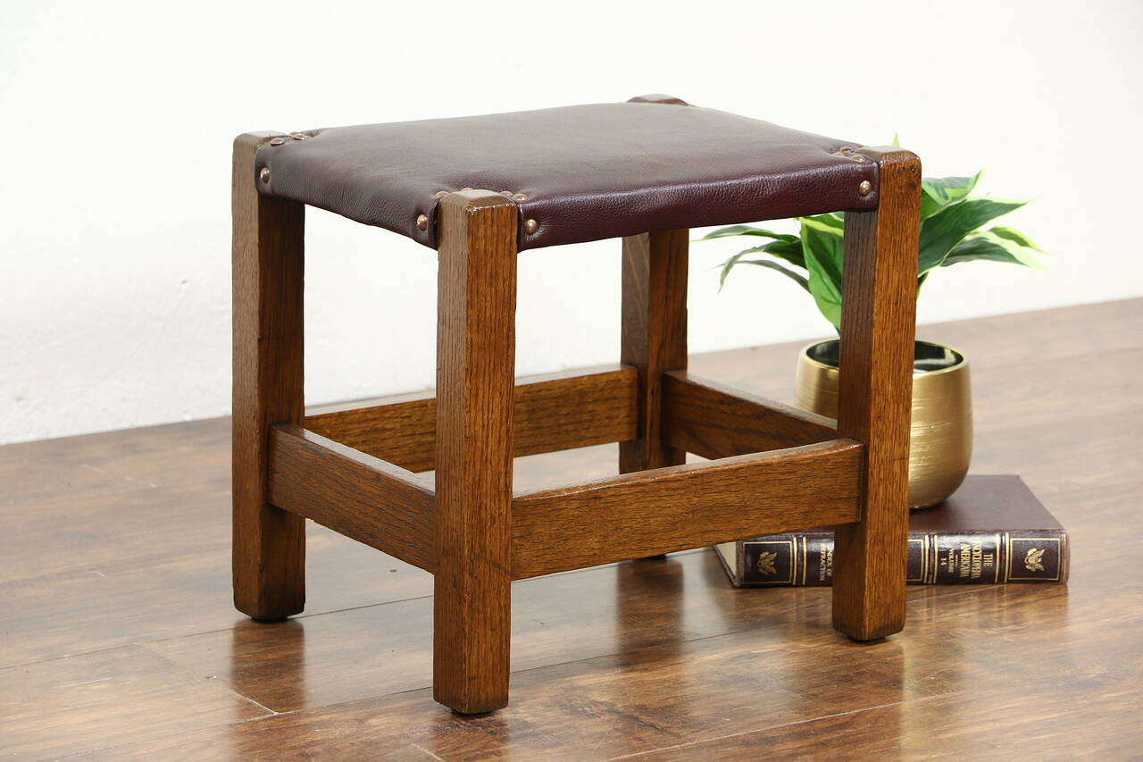 Arts Crafts Mission Oak 1900 Antique Craftsman Bench Footstool Leather Seat Ebay