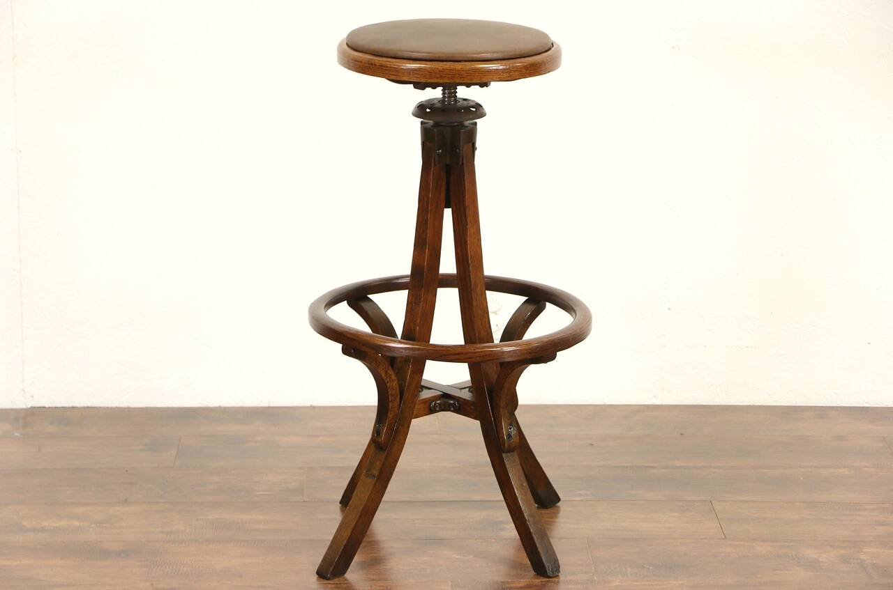 Oak 1920 Antique Swivel Architect Or Drafting Stool