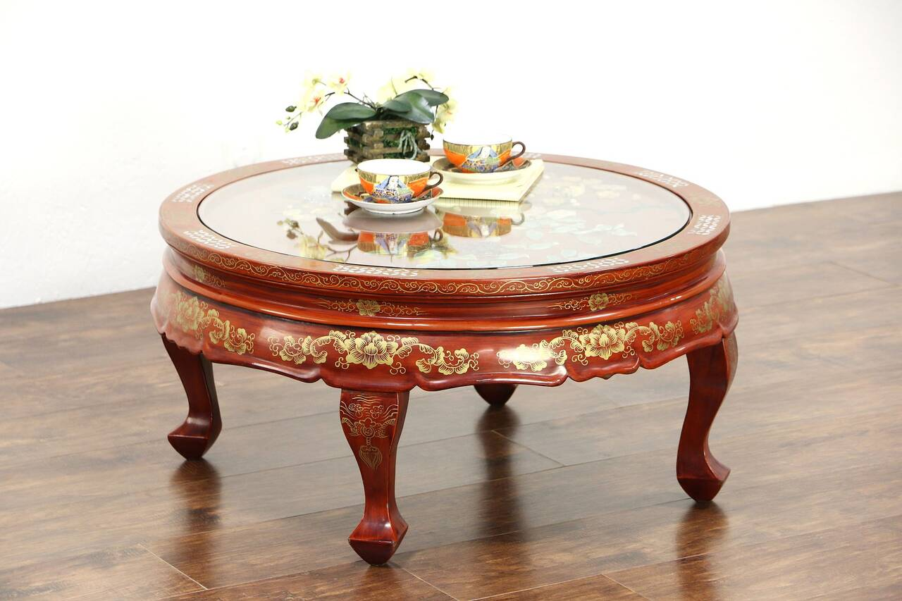 Chinese lacquer round coffee table pearl jade birds