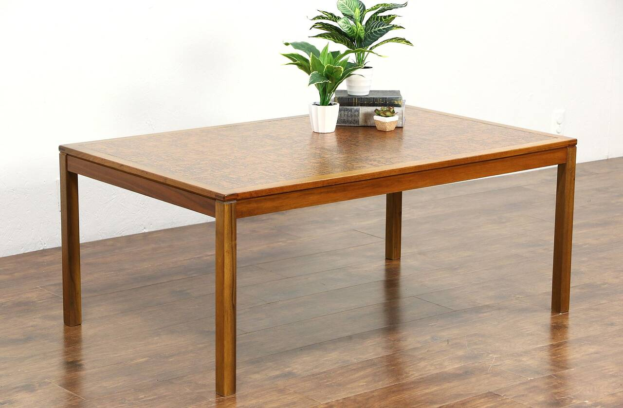 Midcentury Danish Modern Copper Top 1960 39 S Vintage Teak Coffee Table Ebay