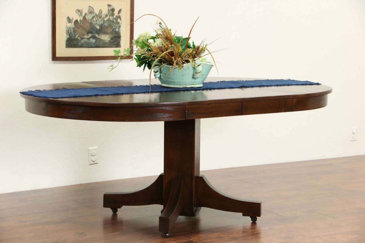 Arts crafts mission oak round 1910 antique craftsman for Dining table with two leaves