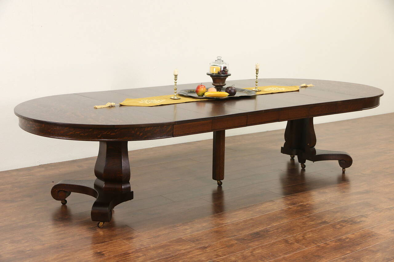 round 54 antique 1900 oak pedestal dining table 6 leaves extends 10 39 6 ebay. Black Bedroom Furniture Sets. Home Design Ideas