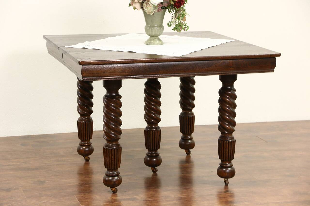 Oak 1900 Antique Square Dining Table 4 Leaves 5 Spiral  : 12801280sztab41216sq from www.ebay.com size 1280 x 853 jpeg 73kB
