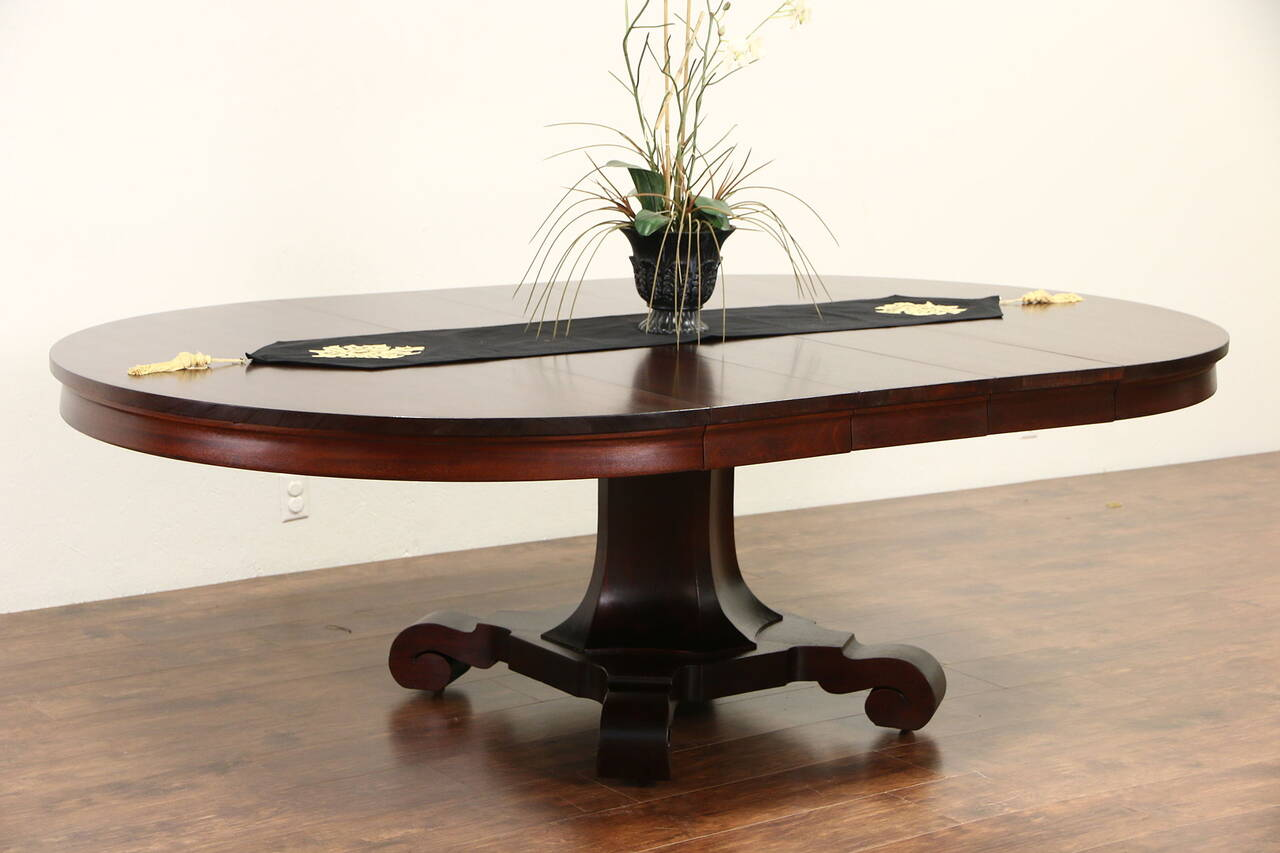 Empire mahogany 1900 antique round pedestal dining table for Round pedestal table with leaf