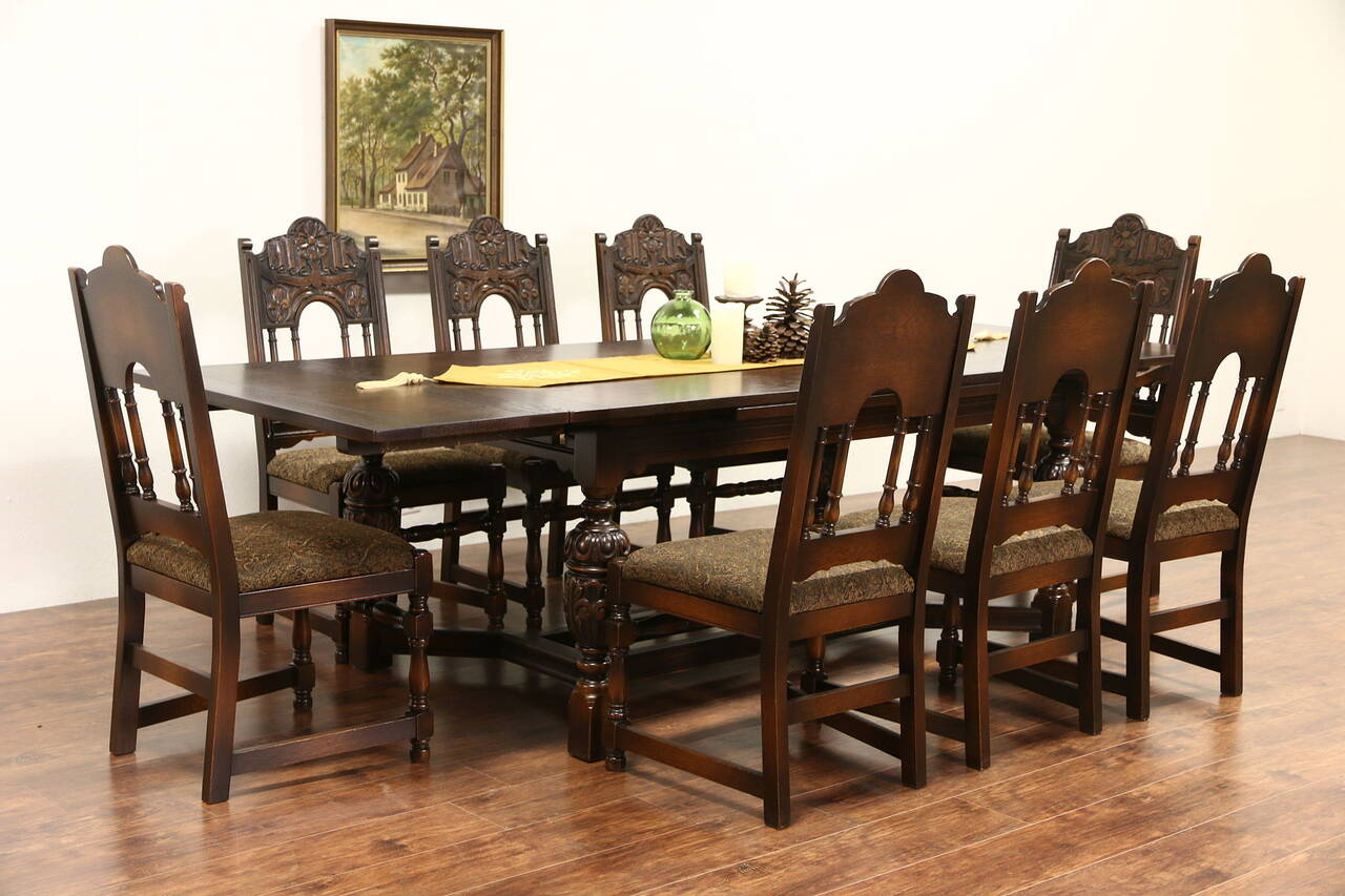 English tudor carved oak 1925 antique dining set table for Antique dining room furniture
