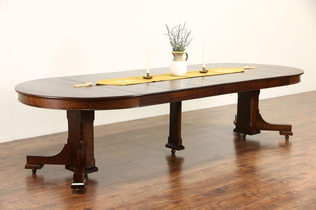 arts crafts mission oak 1900 antique 48 round dining table 6 leaves ebay. Black Bedroom Furniture Sets. Home Design Ideas