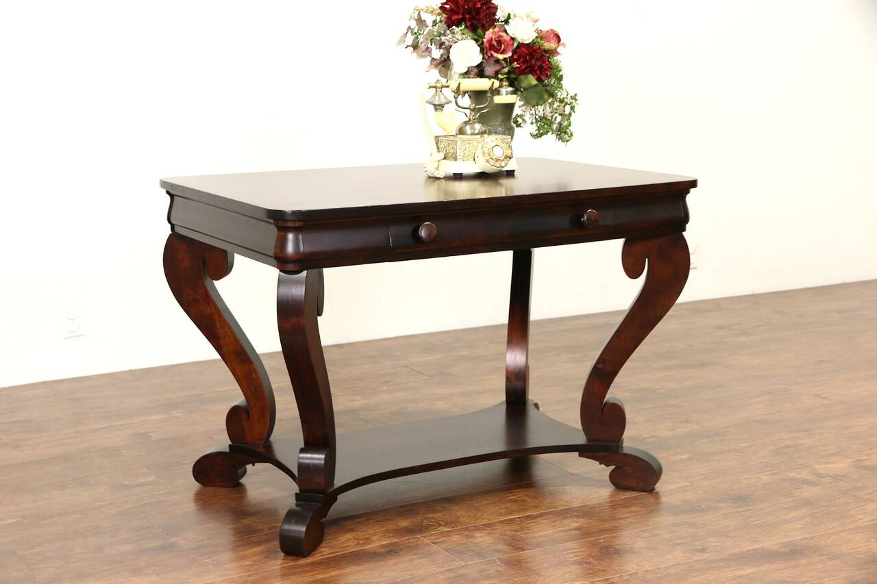 Empire 1915 Antique Mahogany Writing Desk Or Library Table