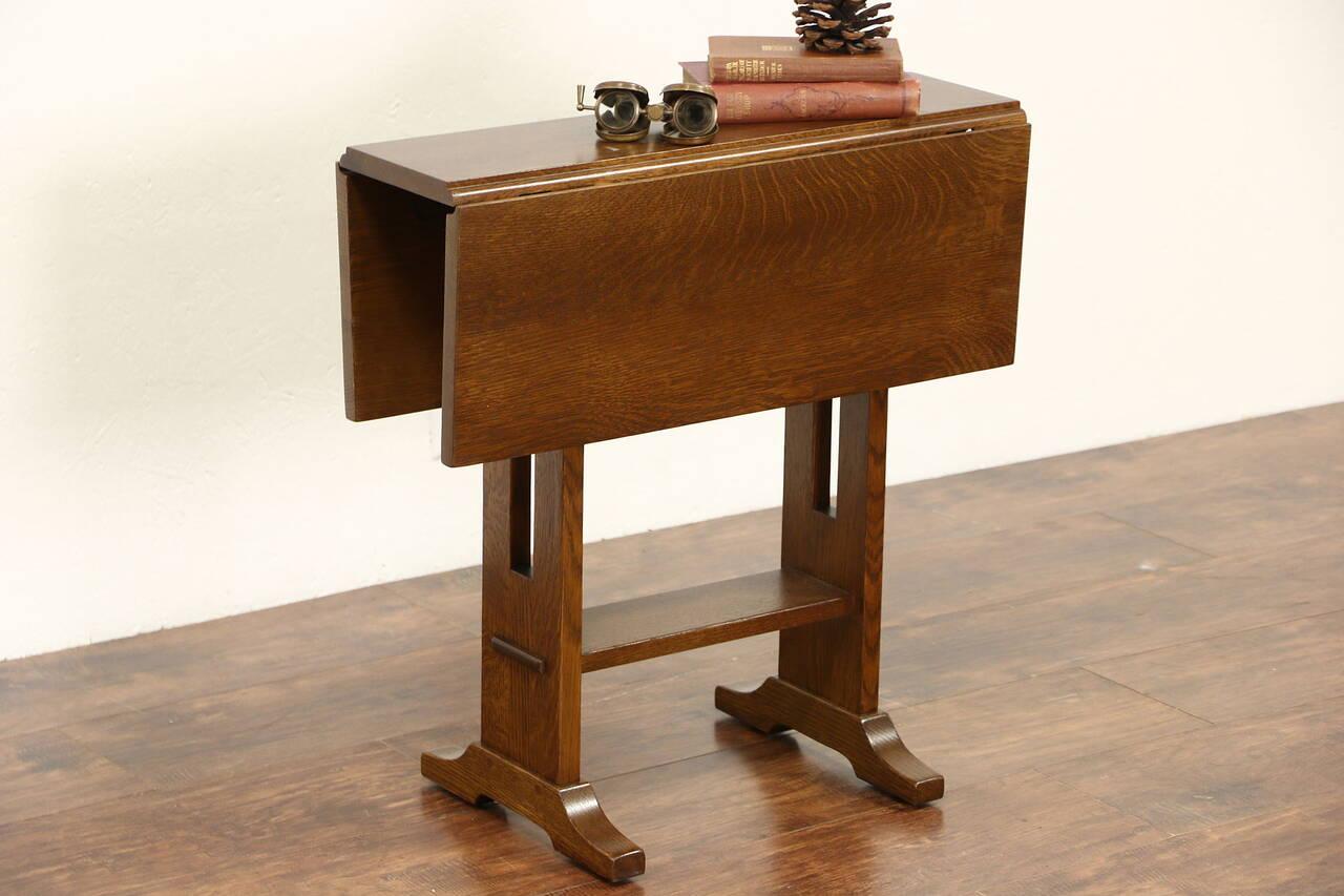 Stickley Signed Craftsman Oak Vintage Chairside Drop Leaf
