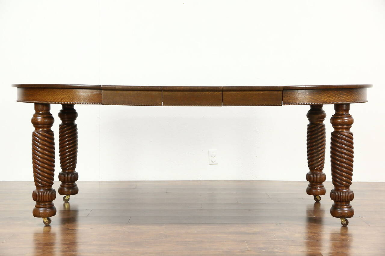 Good Spiral Table Legs Choice Image Table Design Ideas 45 Round Oak Antique 1900  Dining Table 3