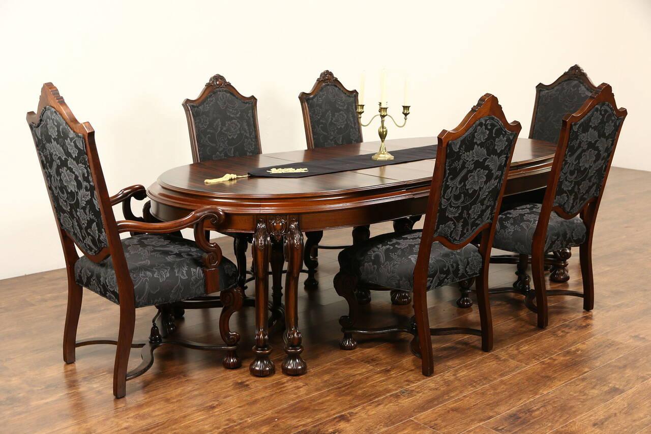Renaissance 1925 Antique Dining Set Table Amp 3 Leaves 6