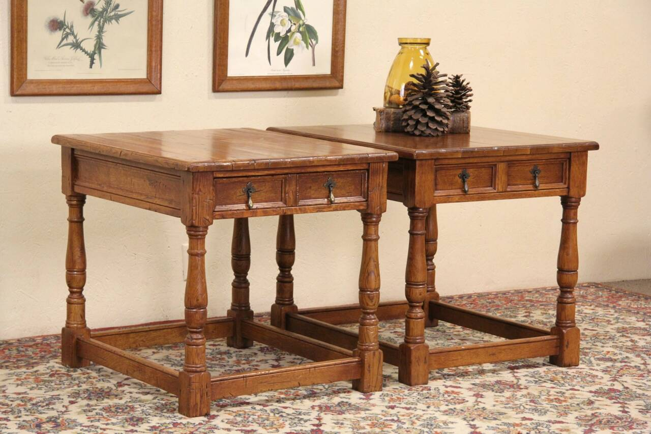 Pair Stickley Antiquities Oak Vintage Lamp Or End Tables
