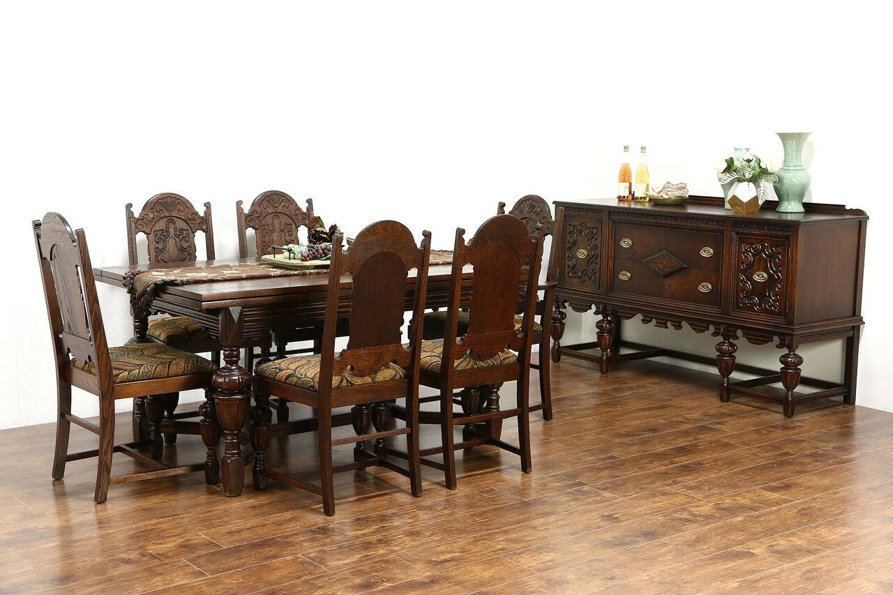 English tudor 1920 antique oak dining set table 6 chairs for Antique dining room furniture