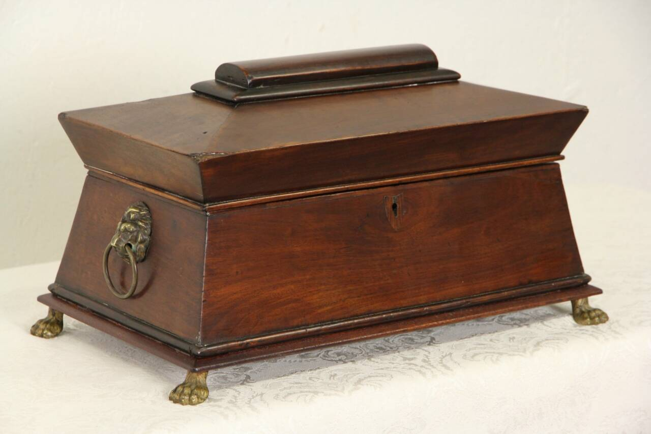 English Regency 1820 Antique Tea Poy Or Caddy Jewelry Box