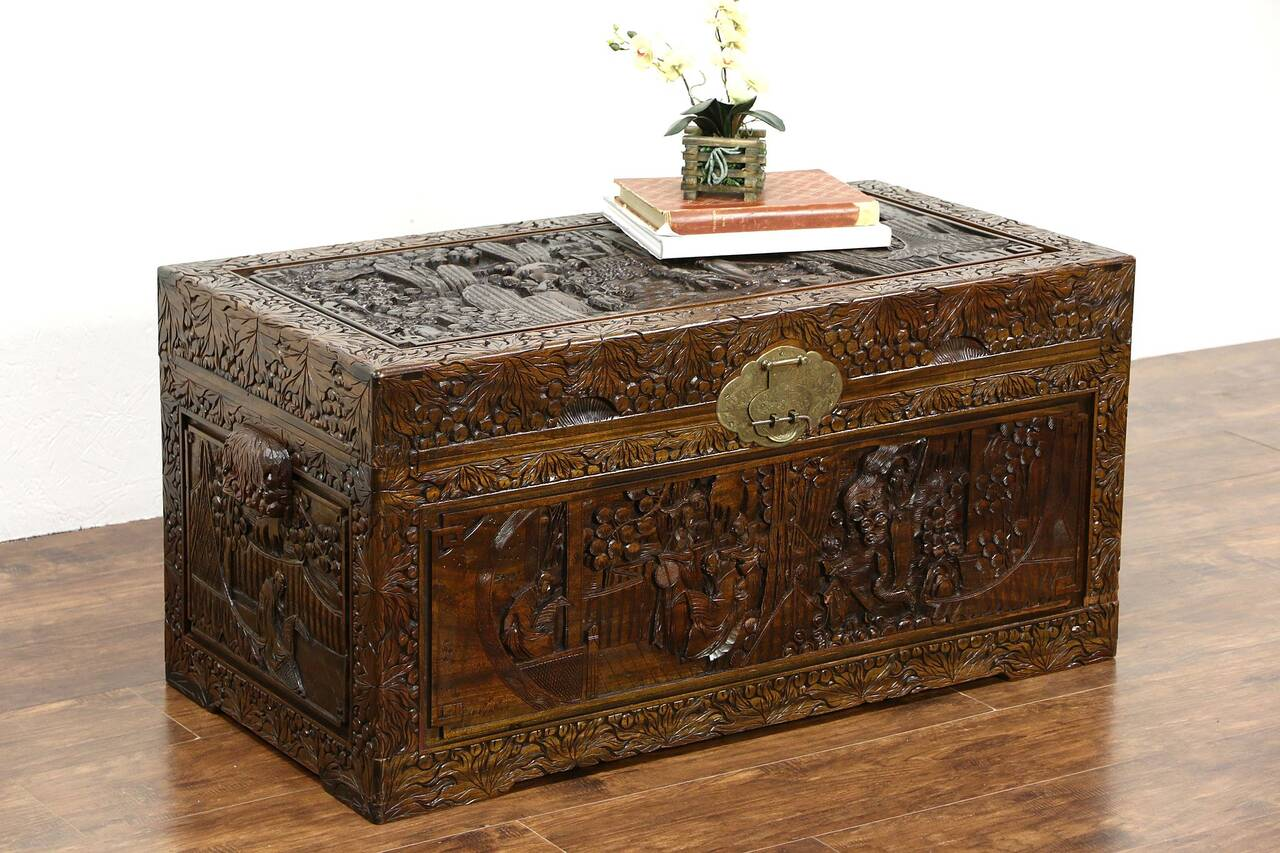Chinese hand carved vintage camphor wood linen trunk