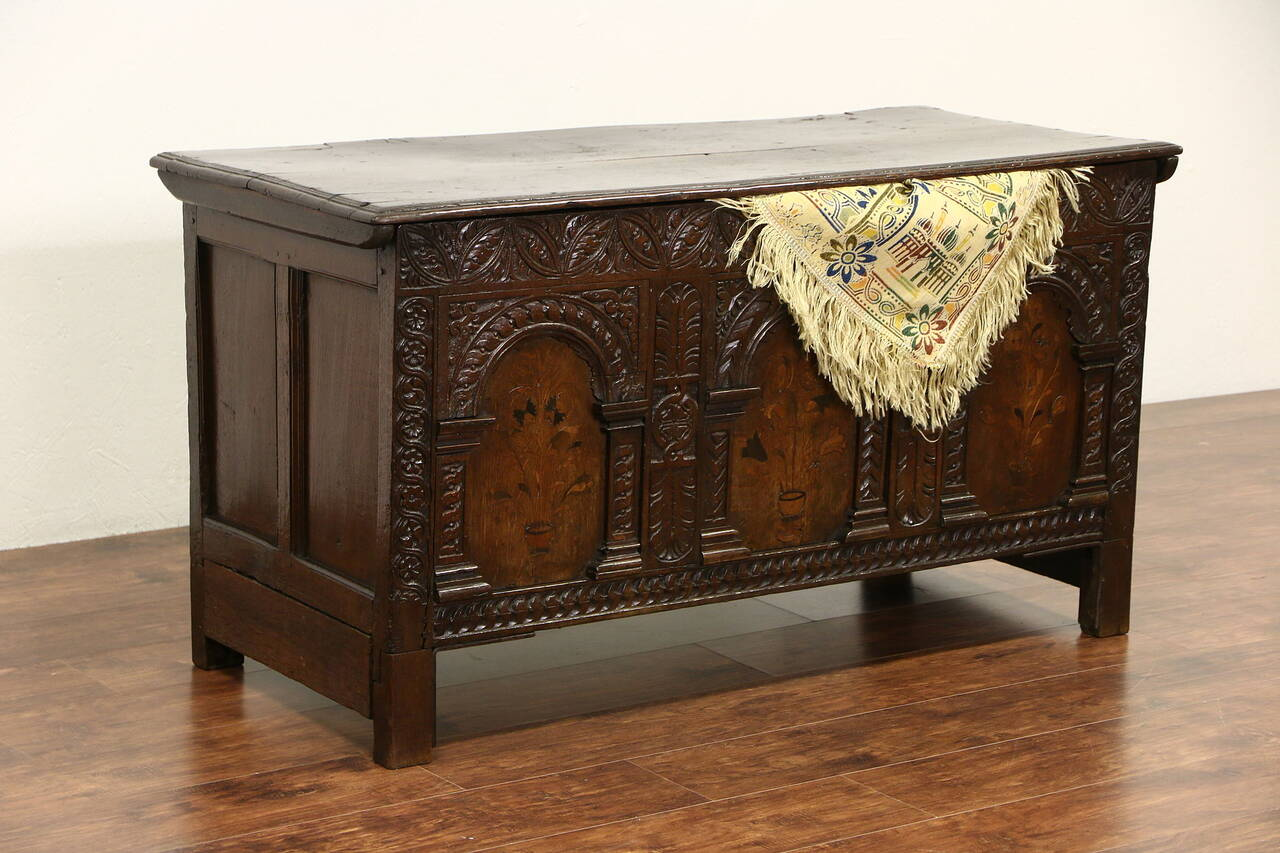 Antique Trunks And Chests ~ French carved oak s antique trunk or dowry chest