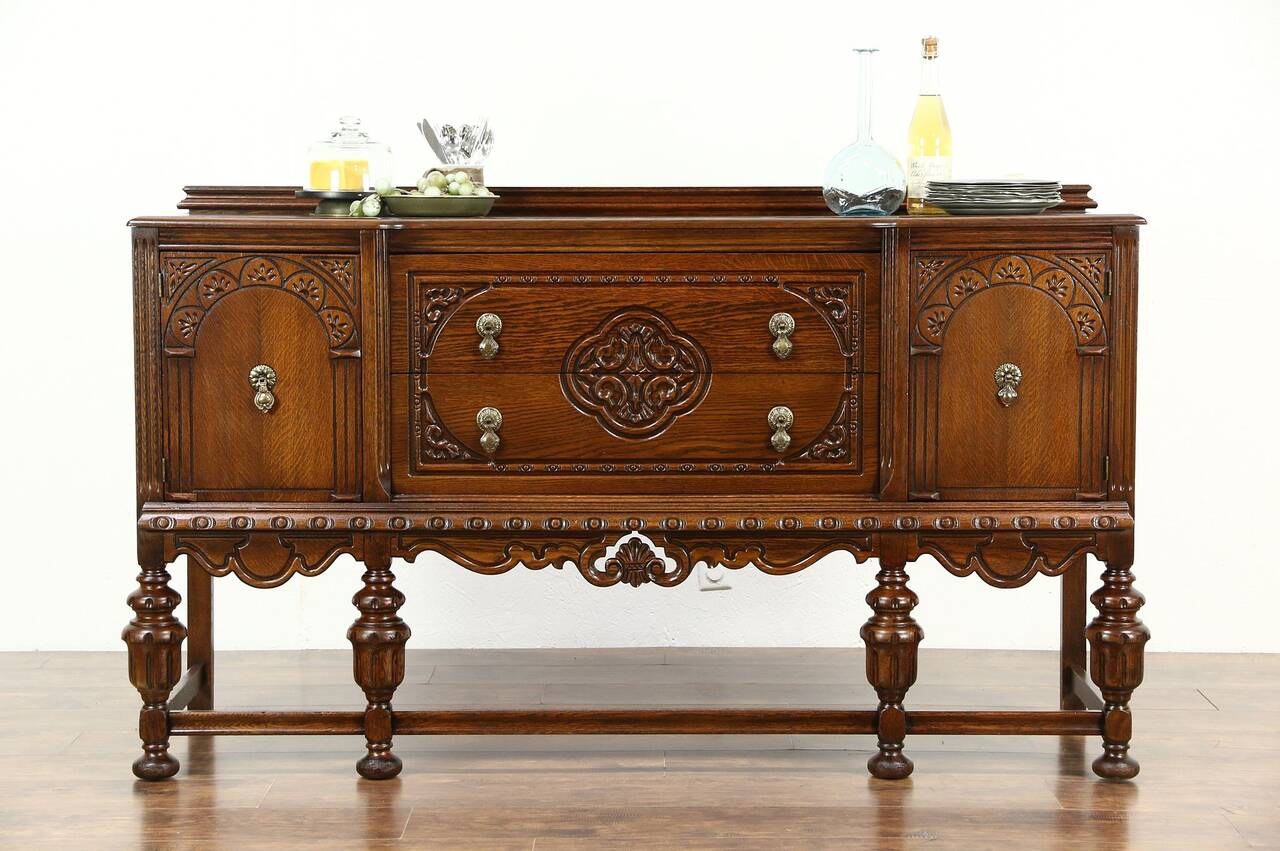 tudor design 1925 antique carved oak sideboard server or. Black Bedroom Furniture Sets. Home Design Ideas