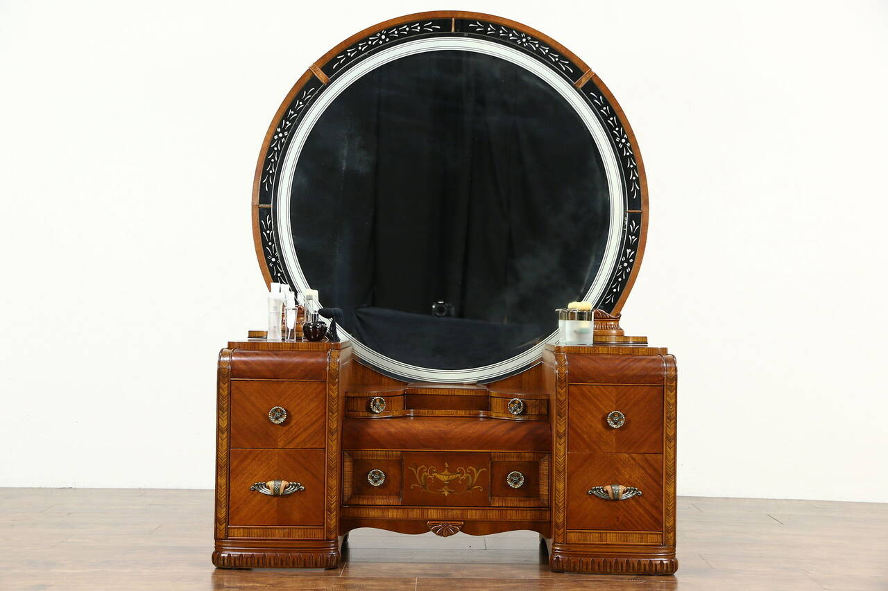 Art deco waterfall 1935 vintage dressing table vanity for Antique vanity with round mirror